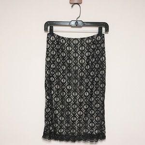 Dvf Black Misty Beaded lace Pencil Skirt